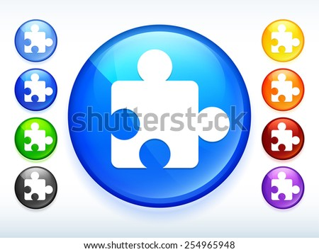 Puzzle Piece on Colorful Round Button