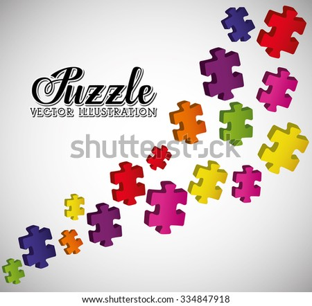 Puzzle pieces and big ideas design, vector illustration graphic