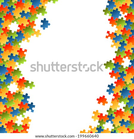 Puzzle pieces colorful background - stock vector