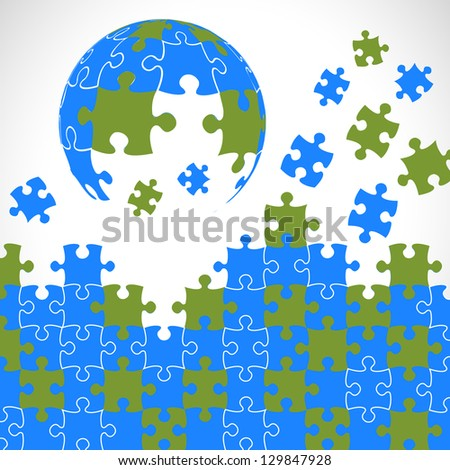 Puzzle pieces 3d globe vector design - stock vector