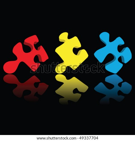 Puzzle pieces- multicolor with reflection over black - stock vector