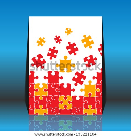 Puzzle pieces vector - flyer design - stock vector