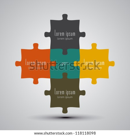 puzzle pieces vector illustration - stock vector