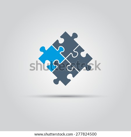 puzzle pieces vector isolated colored object - stock vector