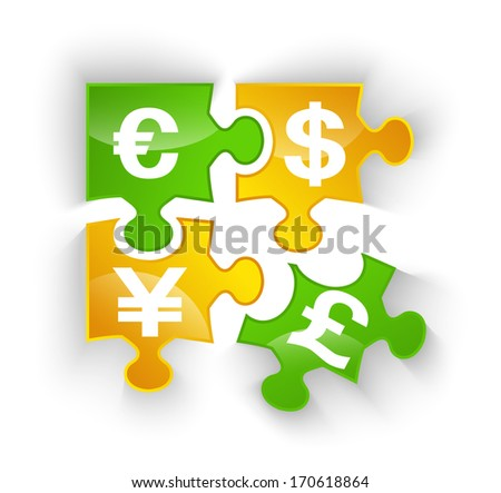 Puzzle pieces with currency symbol.