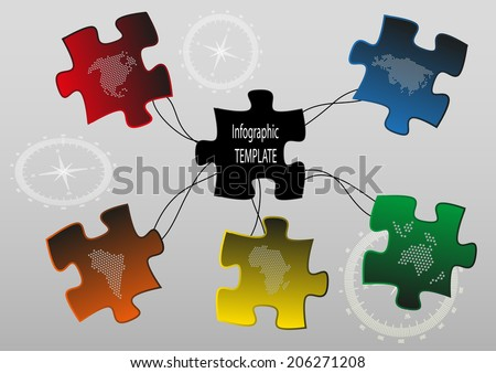 Puzzle pieces with map symbols and compass signs on background - stock vector