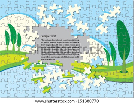 Puzzle pieces with nature background - stock vector