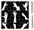 puzzle resign hands - stock vector