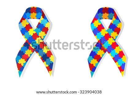 Puzzle ribbon autism awareness - stock vector