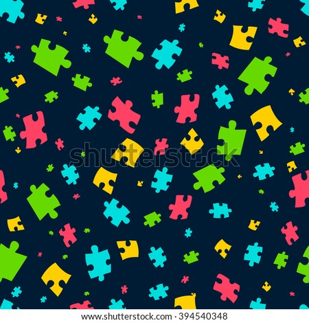 Puzzle seamless pattern. Vector illustration of colorful puzzle pieces on dark background. It can be used for cards, party invitations, baby shower albums and scrap booking.  - stock vector