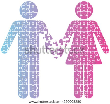 Puzzle separation man woman romantic marriage dating problems  - stock vector