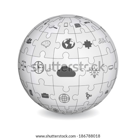 Puzzle shape of a sphere with business icons - stock vector