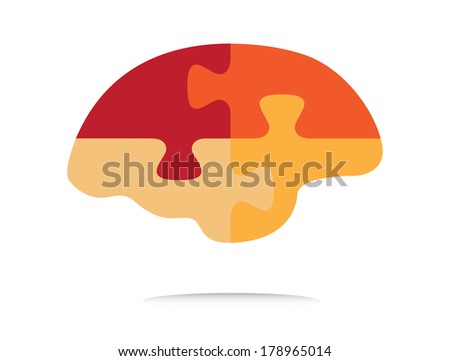 Puzzle shaped brain vector illustration, abstract design. - stock vector