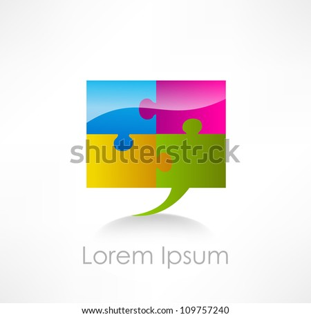 Puzzle speech bubble - stock vector