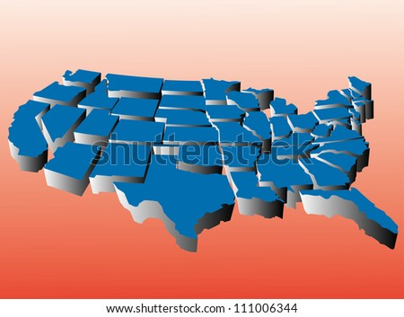 Puzzle style movable piece state map of the united states - stock vector