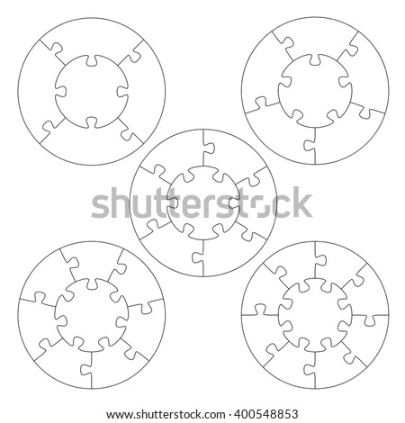 Puzzle Templates Circle Stock Vector 400548853 - Shutterstock