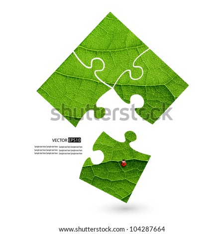 Puzzle vector green leaf macro background. - stock vector