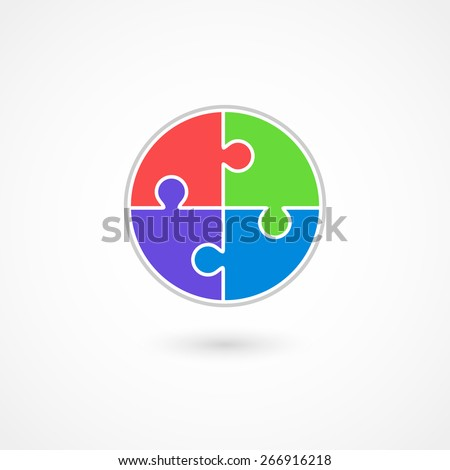 Puzzle vector icon. Isolated on white background, eps 10. - stock vector