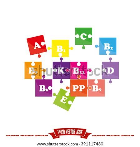 puzzle vitamins icon eps10, puzzle vitamins icon, puzzle vitamins icon illustration, puzzle vitamins icon picture, puzzle vitamins icon flat, puzzle vitamins web icon, puzzle vitamins icon art - stock vector