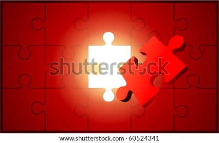 Puzzle with 3d pie vector background - stock vector