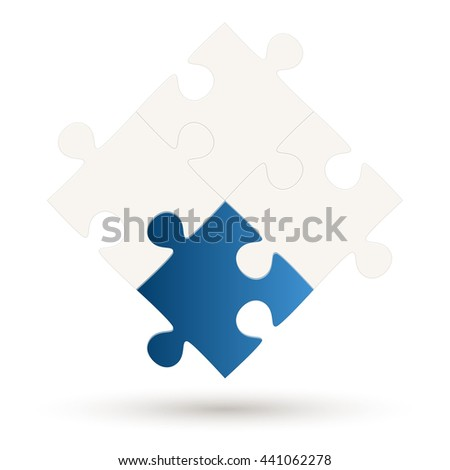 Puzzle with four parts and one blue colored option - stock vector