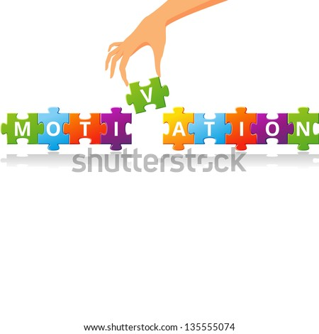 Puzzle with word motivation. Vector illustration - stock vector