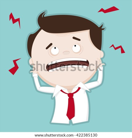 Puzzled / confused businessman - funny illustration - stock vector