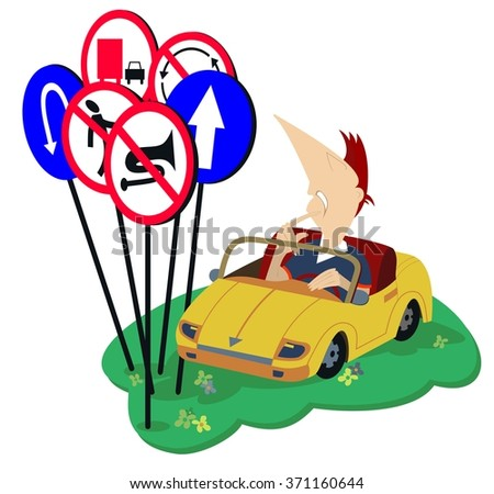 Puzzled driver looks at road signs - stock vector