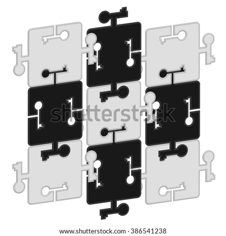 Puzzles Black White with the keys in the amount of