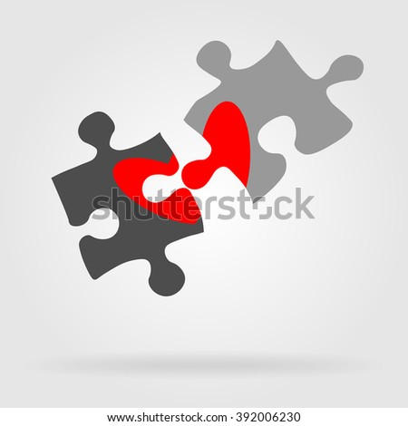 Puzzles flat icon. Monochrome puzzle with color, contrast, bright heart. Vector illustration for your design