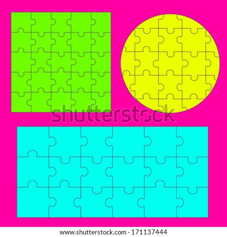 Puzzles - Isolated On Background, Vector Illustration, Graphic Design Editable For Your Design. - stock vector