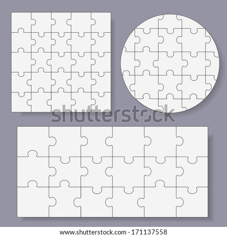 Puzzles - Isolated On Gray Background, Vector Illustration, Graphic Design Editable For Your Design. - stock vector