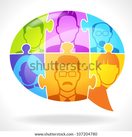 Puzzles with people form a Speech Bubble. Concept communication. File is saved in AI10 EPS - stock vector