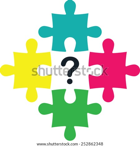 Puzzles with  question mark  - stock vector