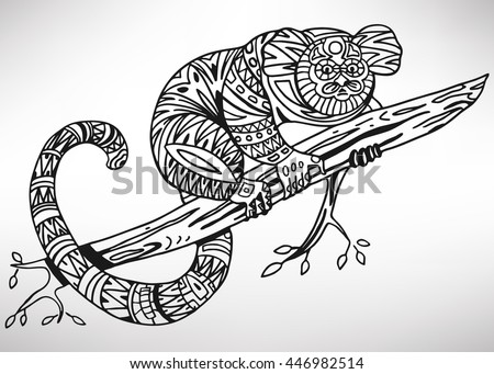 Pygmy marmoset. Hand-drawn with ethnic pattern. Coloring page - isolated on a white background. Zendoodle patterns. Vector illustration.