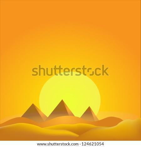 pyramid background egypt desert - stock vector