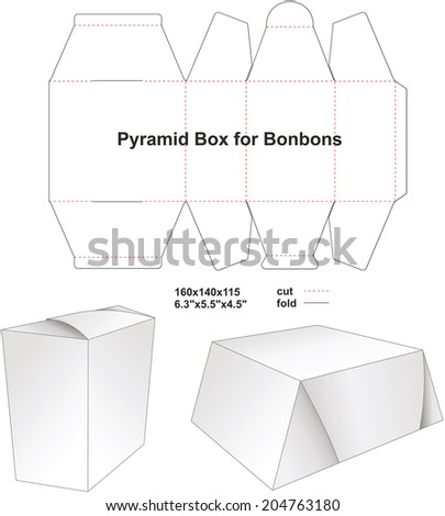 Pyramid box for bonbons and food - stock vector