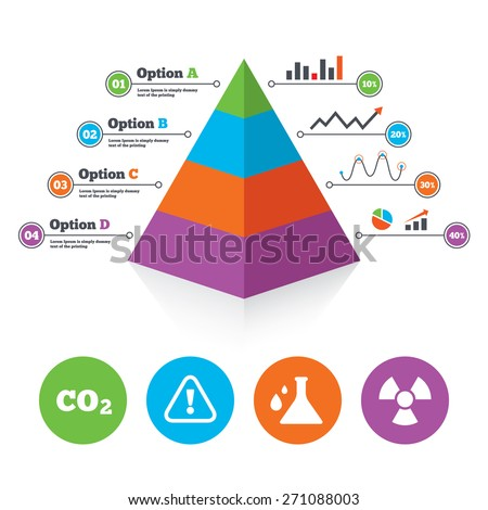 Pyramid Chart Template Attention Radiation Icons Stock Vector