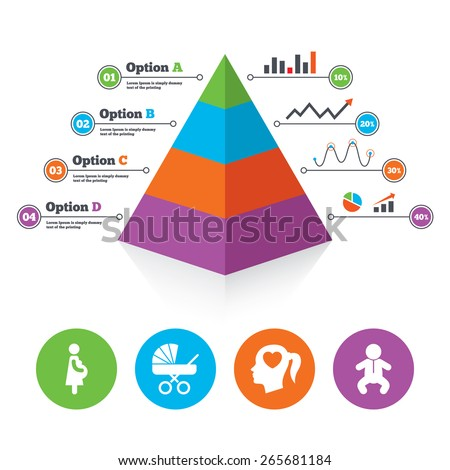 Pyramid chart template. Maternity icons. Baby infant, pregnancy and buggy signs. Baby carriage pram stroller symbols. Head with heart. Infographic progress diagram. Vector - stock vector