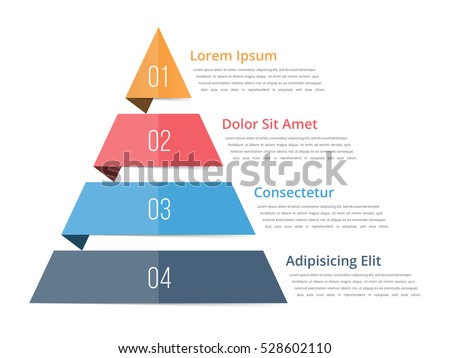 Pyramid chart template, pyramid infographics, four steps infographics, vector eps10 illustration