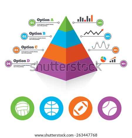 Pyramid chart template. Sport balls icons. Volleyball, Basketball, Baseball and American football signs. Team sport games. Infographic progress diagram. Vector  - stock vector