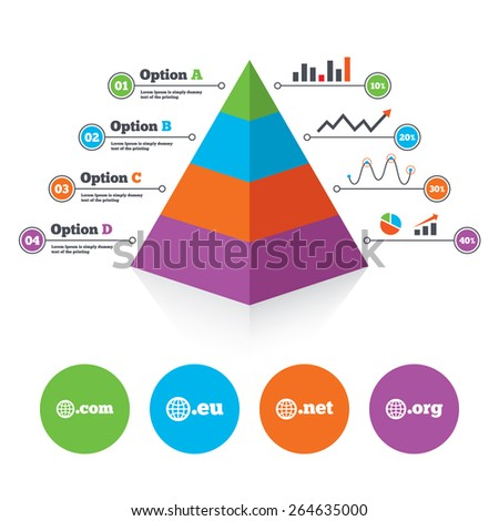 Pyramid chart template. Top-level internet domain icons. Com, Eu, Net and Org symbols with globe. Unique DNS names. Infographic progress diagram. Vector - stock vector
