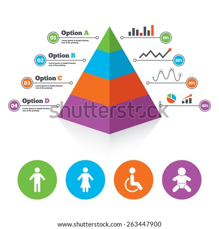 Pyramid chart template. WC toilet icons. Human male or female signs ...