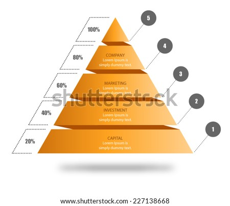 Pyramid Chart Vector for your business presentation to visualise data, shape showing five stages in hierarchy. Download this pyramid vector and input your own text. - stock vector