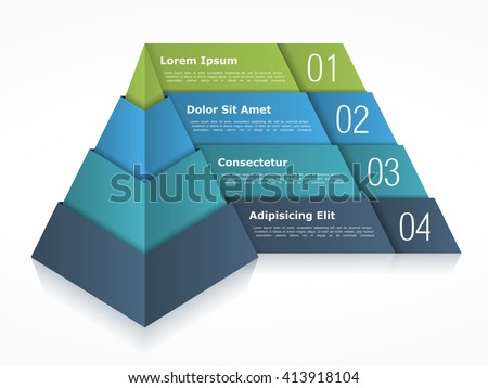 Pyramid chart with four elements, pyramid infographics template, 3d pyramid, vector eps10 illustration - stock vector