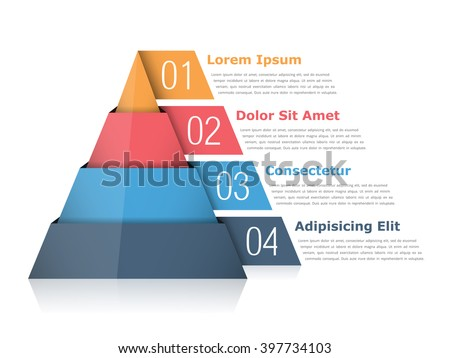 Pyramid chart with four elements with numbers and text, pyramid infographic template, vector eps10 illustration - stock vector