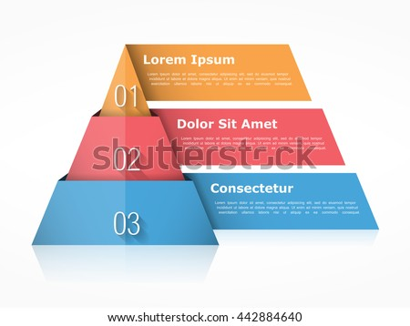 Pyramid chart with three elements with numbers and text, pyramid infographic template, pyramid diagram for presentations, vector eps10 illustration - stock vector
