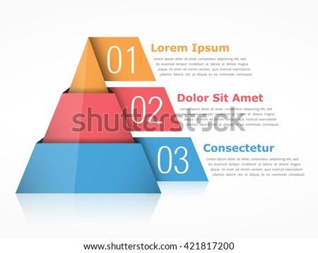 Pyramid chart with three segments, vector eps10 illustration - stock vector