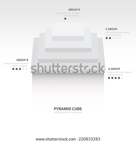 pyramid cube  infographic top view white color balance