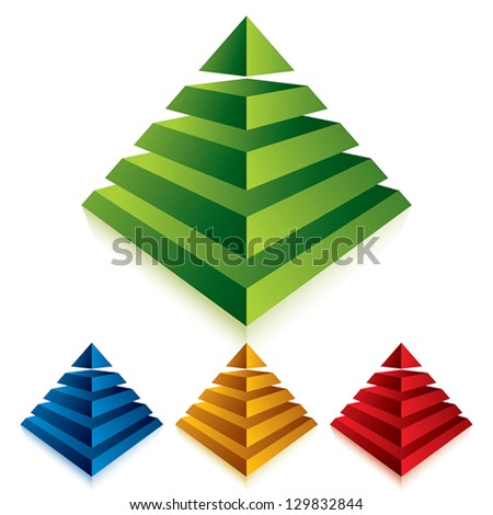 Pyramid icon isolated on white background, vector. - stock vector